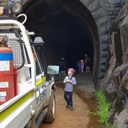 Liam checking out the workers testing the tunnel for something!
